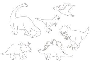 シンプルな恐竜の塗り絵