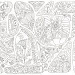 枠に区切られた細かい花模様の塗り絵