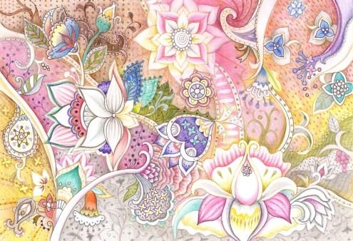 アジアのエスニックな花の塗り絵