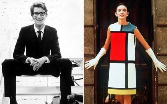 איב סאן לורן, משמאל, והשמלה שיצר בהשראת הצייר מונדריאן. שמלה שהעתיקו אותה יותר מכל שמלה אחרת בעולם.