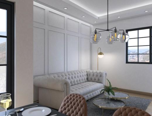 modern ample living room