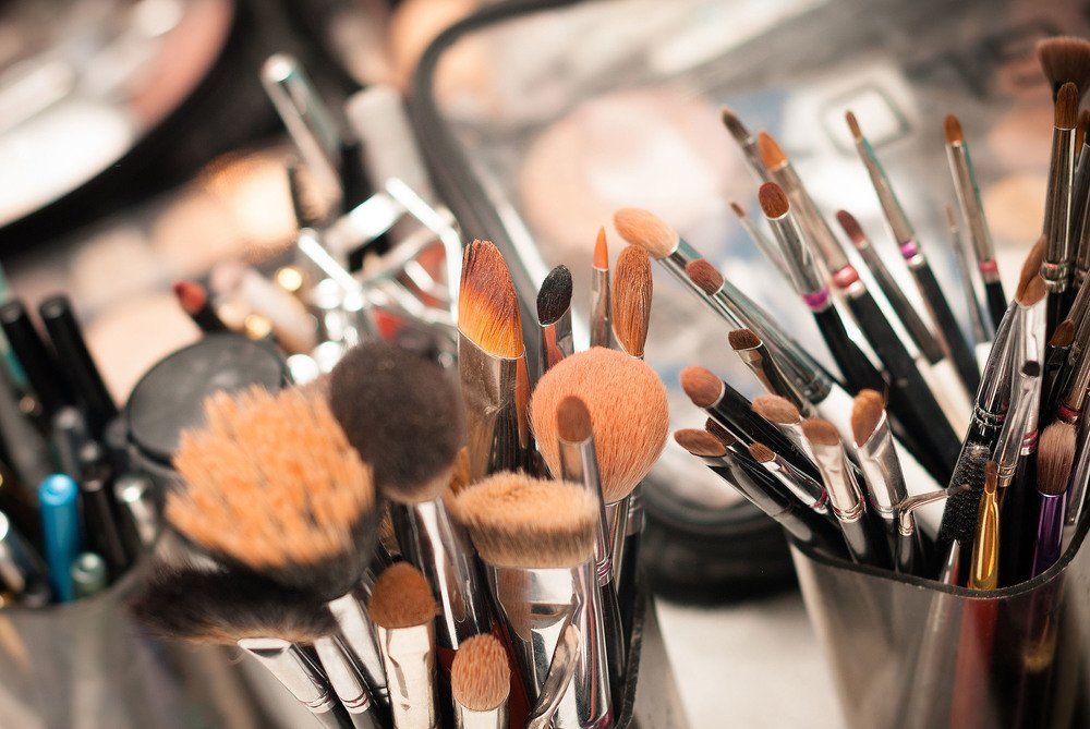Set Of Professional Make-up Brushes And Cosmetic