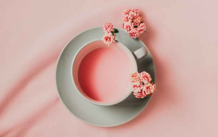 pink drink with pink flowers