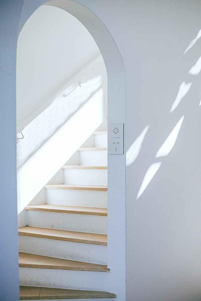 modern staircase in house under sunlight