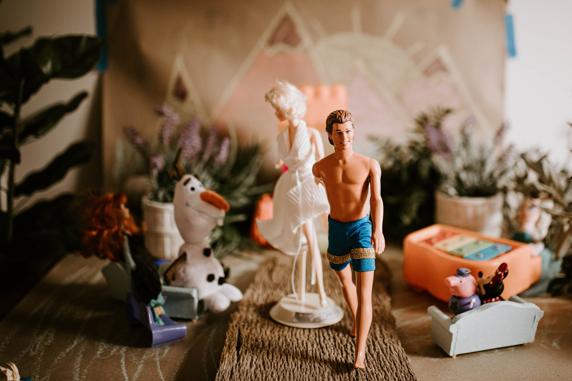 just married couple of toys at wedding celebration