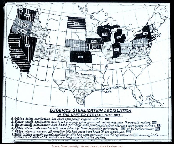 States with eugenic sterilization laws ca. 1913.