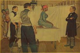 """Painting of J. Marion Sims, """"the father of modern gynecology,"""" preparing to operate on an enslaved woman without anesthesia."""