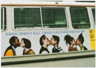 "Gran Fury, ""Kissing Doesn't Kill"" bus poster, c. 1989."