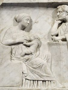 Detail from the sarcophagus of Marcus Cornelius Statius, who died as a young child. Collection of Giampietro Campana di Cavelli; 1861: purchased.