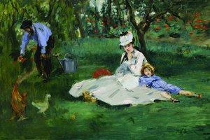 "Édouard Manet, ""The Monet Family in Their Garden at Argenteuil."""