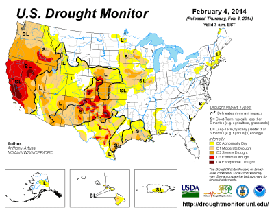 USdroughtmonitor4feb2014