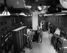 """""""J. Presper Eckert and J.W. Mauchly working on the Electronic Numerical Integrator and Computer (ENIAC), at the University of Pennsylvania. Philadelphia, PA, January 1, 1946."""" (Source: US Army Photo, via Explore PA History.)"""