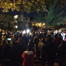 Protesters gather at Michael Brown memorial for Saturday night march. (Austin C. McCoy. Licensed CC BY-SA.)