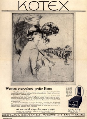 """Kotex: Women Everywhere Prefer Kotex,"" 1923 magazine advertisement by Portia Novella Jacob for Kotex sanitary napkins. (Source: Ad*Access, Duke University Libraries Digital Collections, id BH0233)"