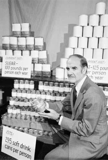 "Senator George McGovern, pictured here at a press conference during the ""McGovern Committee"" campaign to focus on US overeating."