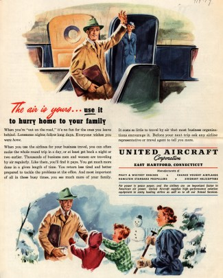 "Ads like this 1949 United Aircraft Corporation spot that appeared in Collier's magazine depicted a version of the ""modern father"" that was encouraged to engage in the daily lives of his children. (Ad*Access/Duke University Libraries Digital Collections)"