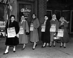 """Women picketing outside Alaimo Dress Mfg,"" c. 1940, by Harry Rubenstien. (Kheel Center, Cornell University/Flickr CC BY)"