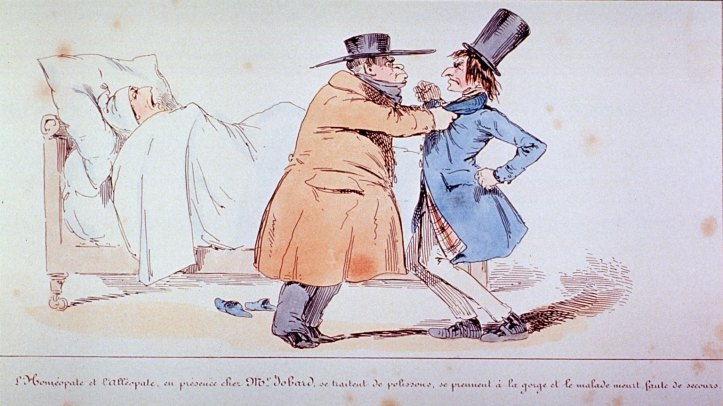 Cartoon showing an allopath and a homeopath fighting while a patient lies unattended