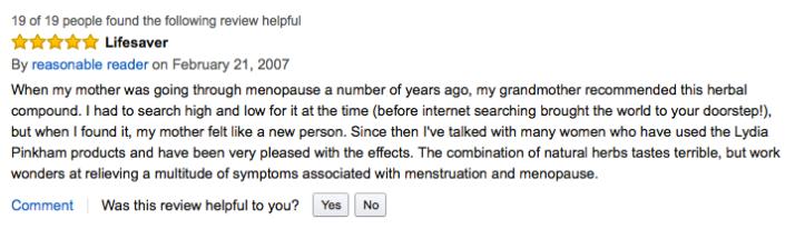 "February 21, 2007, Amazon.com review calling Lydia Pinkham's Compound a ""Lifesaver."""