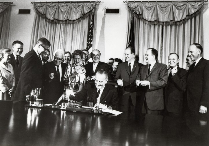 President Johnson signing 1964 Food Stamp Act