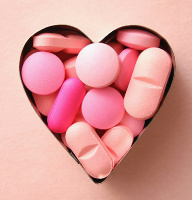 Pills in heart shape