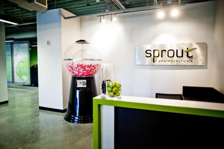 Sprout Pharmaceuticals office with candy-style pill dispenser