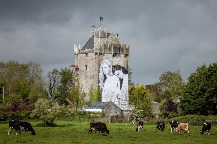 Mural by Joe Caslin on Medieval Caherkinmonwee Castle in County Galway. (David Sexton)