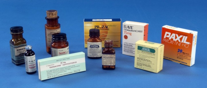 Drugs like Nembutal, Thorazine, Lithium, Luminol, Phenobarbital, Prozac, Elavil, Ritalin, and Paxil, pictured here, are commonly used to treat various conditions. (EveryBody: An Artifact History of Disability in America/Smithsonian, National Museum of American History)