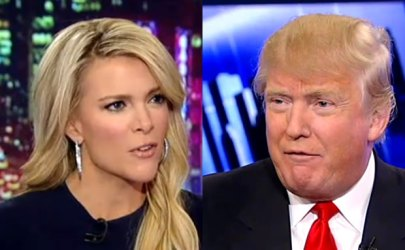 Megyn Kelly (left) and Donald Trump (right).