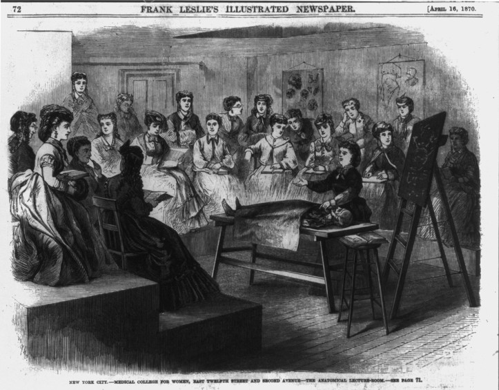 """The anatomy lecture room at the Woman's Medical College of New York Infirmary,"" Frank Leslie's Illustrated Newspaper, April 16, 1870. (Library of Congress)"