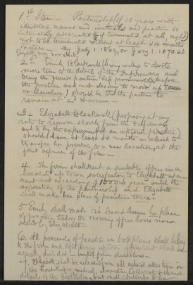 Partnership document between Emily and Elizabeth Blackwell. (Courtesy of Schlesinger Library, Radcliffe Institute, Harvard University)