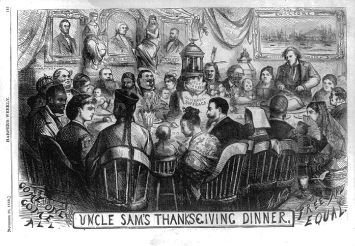 "Thomas Nast, ""Uncle Sam's Thanksgiving Dinner,"" Harper's Weekly, November 20, 1869 (Library of Congress)"