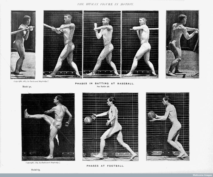 """Wellcome Library, London """"Fives phases in batting at baseball; three phases at football."""" The human figure in motion, Eadweard James Muybridge, 1901."""