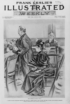 Illustration of the Borden trial for Frank Leslie's Illustrated Newspaper in 1893. (Benjamin West Clinedinst/Library of Congress   Public domain)