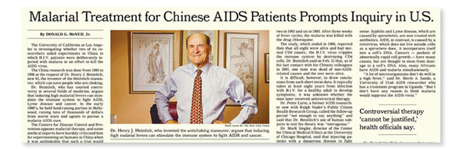 """New York Times reporting on UCLA investigation of Heimlich's """"malarial therapy"""" tests in China."""