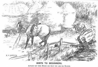 """""""Hints to Beginners,"""" an illustration from Punch magazine in 1900 with the caption, """"Always Let Your Horse See You Are Her Master."""""""