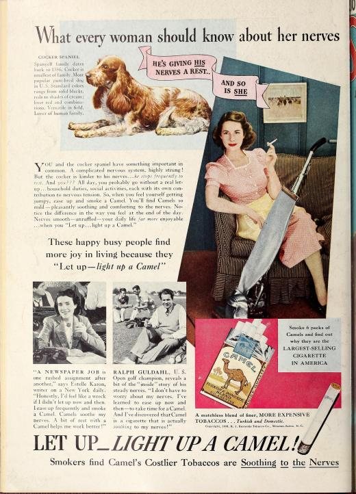 Camel Cigarettes advertisement, Nov 1938 - Apr 1939, Screenland Magazine, Library of Congress, Motion Picture, Broadcasting and Recorded Sound Division