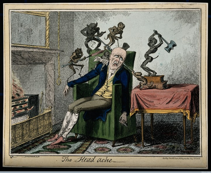 Wellcome Library, London A man suffering from headache in the form of devils. Coloured etching by G. Cruikshank, 1835, after Captain F. Marryat.