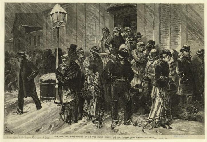 "An 1877 illustration titled, ""New York City: Early Morning at a Police Station -- Turning Out The Vagrant Lodgers."" (Miranda/Art and Picture Collection, New York Public Library)"
