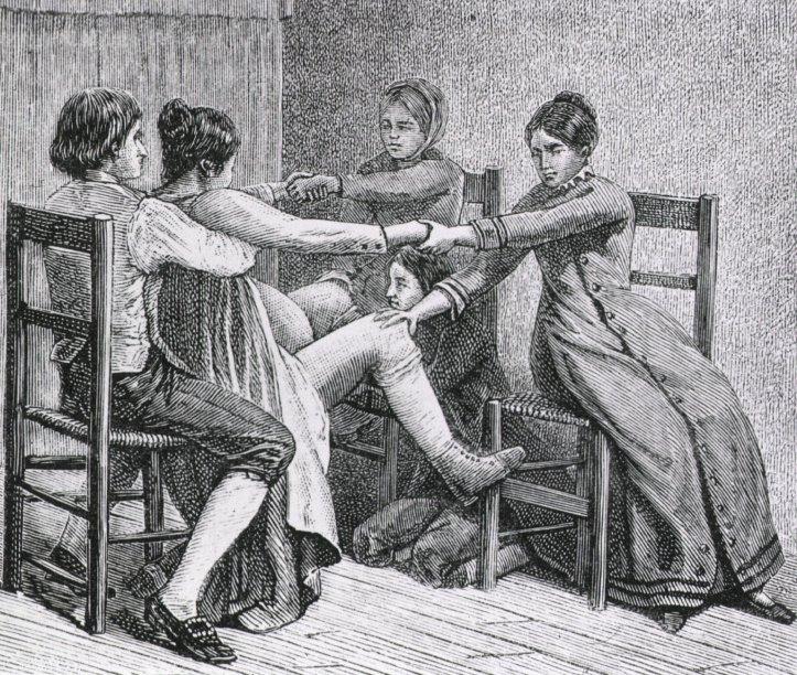 """Pioneer birth scene,"" engraving, ca. 1887. (Gustave Joseph Witkowski/US National Library of Medicine | Public domain)"