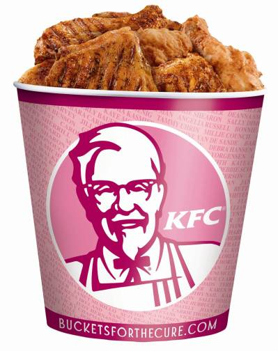 "From KFC's and Komen for the Cure's 2010 ""Buckets for the Cure"" campaign. (Think Before You Pink)"