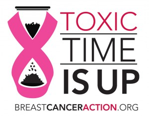 "Logo for Breast Cancer Action's ""Toxic Time Is Up"" campaign against companies selling ""pinkwashed"" products in the name of awareness -- some with chemicals known to increase cancer risk. (Breast Cancer Action)"