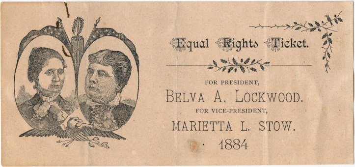 An Equal Rights Ticket from the 1884 Presidential election.(Unknown artist/Collection of Oakland Museum of California)