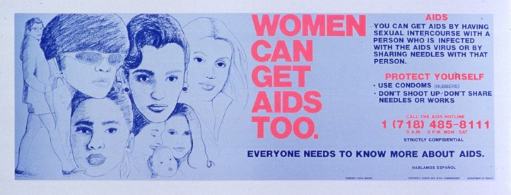 Misinformation and rumor abounded during the AIDS epidemic, as this poster debunking the myth that women could not get AIDS shows, and still forms the basis of identity-based blood donation policies. (New York Department of Health/US National Library of Medicine)