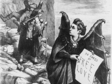 """An 1872 Thomas Nast cartoon, titled """"Get thee behind me, (Mrs.) Satan!,"""" showing Victoria Woodhull as a """"free love"""" devil. (Thomas Nast/US Library of Congress)"""