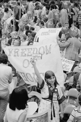 Demonstration protesting anti-abortion candidate Ellen McCormack at the Democratic National Convention, New York City, 1976. (Warren K. Leffler/US Library of Congress)