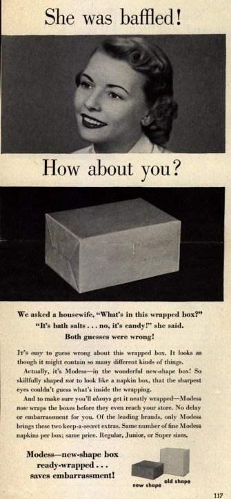 Modess Sanitary Napkins, Good Housekeeping, 1950. http://library.duke.edu/digitalcollections/adaccess_BH0132/