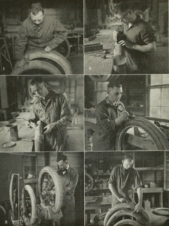 Tire repair course at Evergreen Institute for the Blind. (Evergreen Review, 1:8 (August 1920), 69/Internet Archive)
