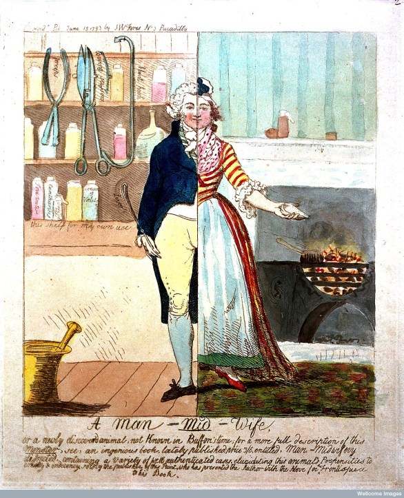 Caricature of a man-midwife as a split figure, 1793. Wellcome Library, London.