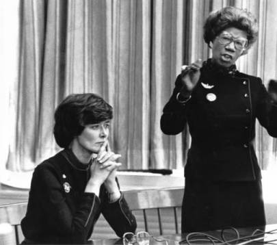 Representatives Patricia Schroeder and Shirley Chisholm talking with students at Manual High School around 1982. (Denver Public Library)